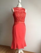 LIPSY sukienka koronkowa ołówkowa czerwona 36 S...