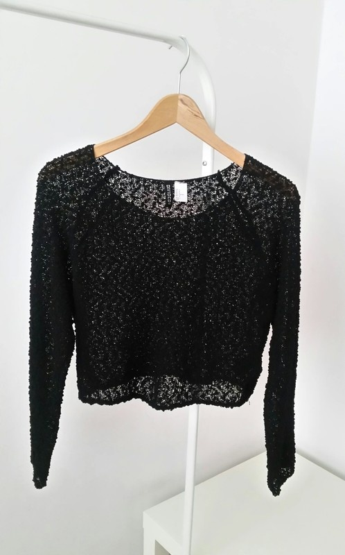 Czarny azurowy sweterek H&M crop top