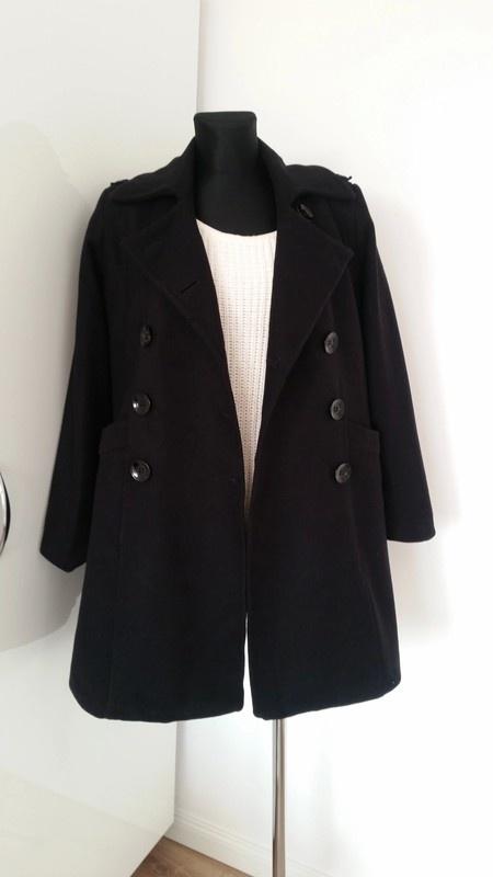 Odzież wierzchnia Czarny klasyczny plaszcz welniany must have