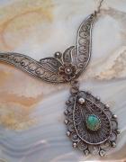 Stary srebrny naszyjnik filigranowy turkus...