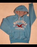 Hollister błękitna bluza z kapturem logo...