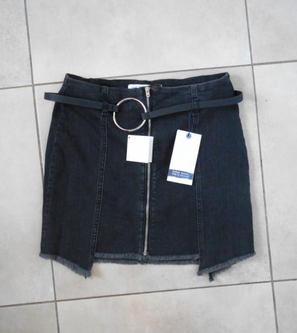 Zara nowa spódniczka mini jeansowa z paskiem grafitowa...