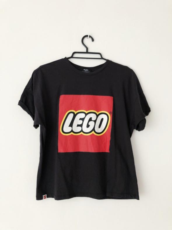 Bershka czarny tshirt z nadrukiem Lego koszulka basic minimal...