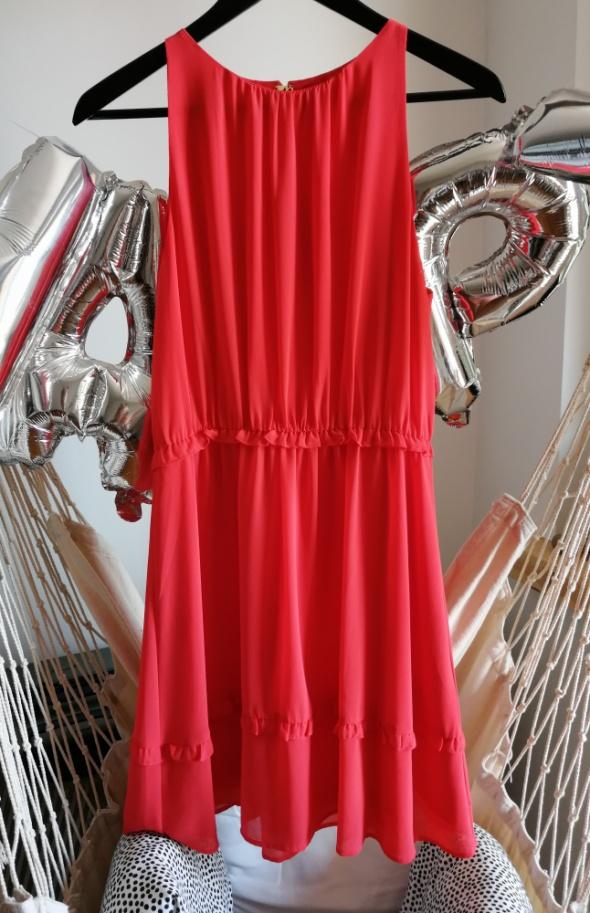 Sukienka mgiełka koralowa pomarańczowa 38 M H&M letnia lekka
