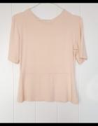 Brzoskwiniowa bluzka top L 40 baskinka elastyczna łososiowa...