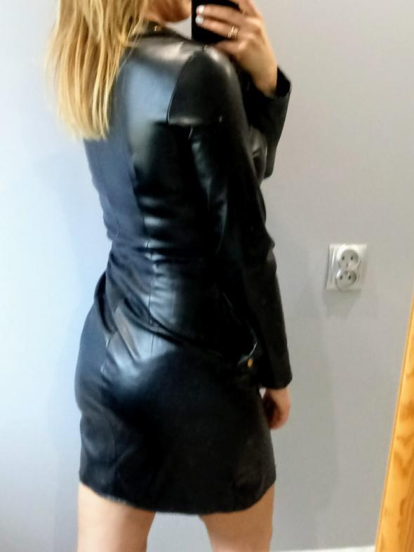 sukienka skora zloty zip