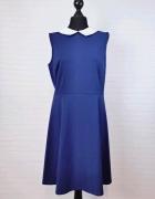 10 38 M Sharagano Niebieska kobaltowa sukienka biały kołnierzyk...