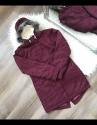 BonPrix Bordowa ciepełka kurtka parka na zimę z futerkiem...
