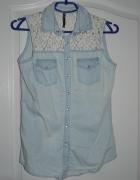 Jeansowa koszula bez rękawów XS...