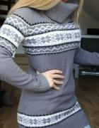 szary sweter ciepły golf skandynawskie wzory...