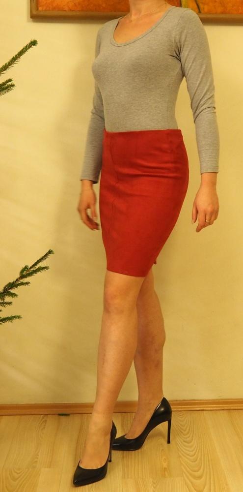 NOWA Czerwona spódnica zasuwak ołówkowa
