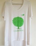 Jestem bio eko koszulka dłuższy tył biała zielony nadruk chroni...