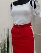 Spódniczka czerwona z zipem i lampasami mega...