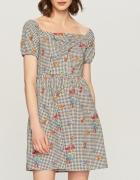 Sukienka w kwiaty i kratkę hiszpanka