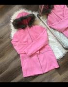 Bonprix Różowy elegancki płaszczyk z kapturem z futerkiem nowa ...