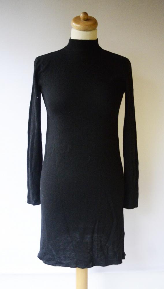 Sukienka Czarna Golf Dzianinowa H&M Basic XS 34 Sweterkowa...