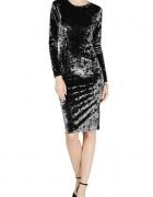 czarna nowa welurowa sukienka Michael Kors M midi velvet...