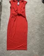 Tommy Hilfiger US 6 czerwona sukienka midi S now...