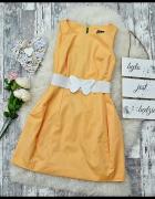 Sukienka Tulipan Bombka Pastelowa Kanarkowy Żółty Zip Zamek Kok...