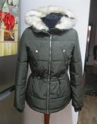 kurtka parka zimowa H&M 36 khaki z kapturem...