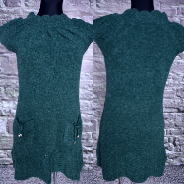 Sukienka włóczkowa butelkowa zieleń