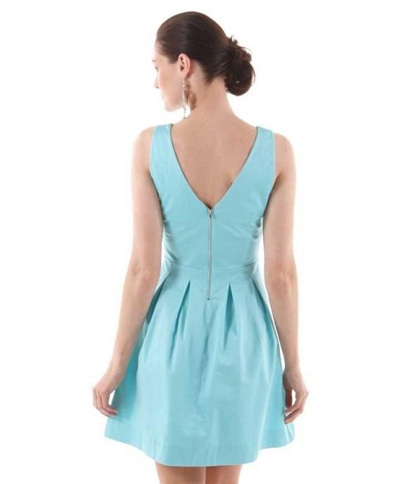 Suknie i sukienki CAMAIEU SUKIENKA ROZKLOSZOWANA BŁĘKIT 40