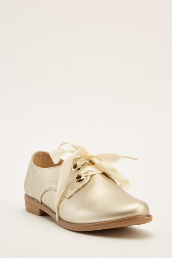 Nowe złote buty wiązane 39 wstążki jasne złoto płaskie loafersy...