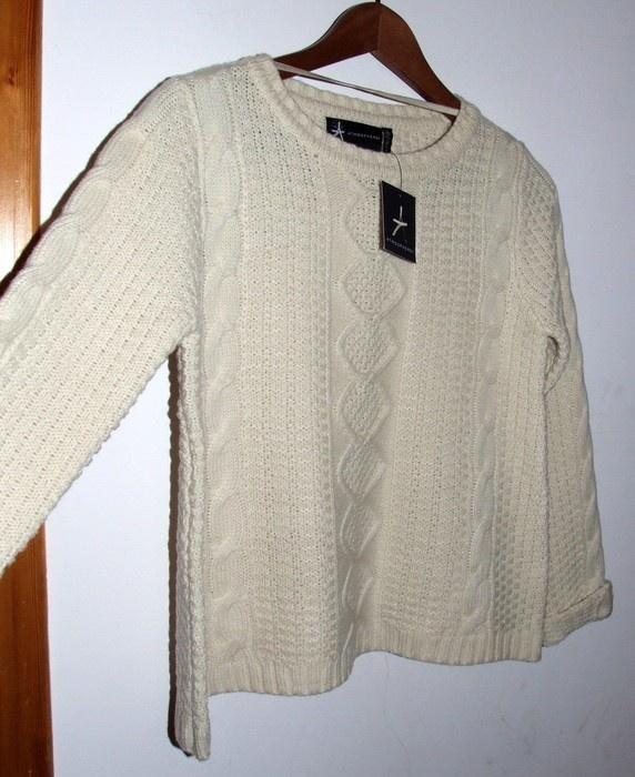 Swetry nowy kremowy sweter z warkoczami ecru