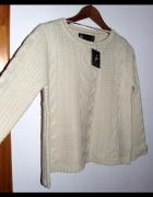 nowy kremowy sweter z warkoczami ecru