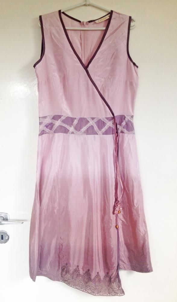 Vintage sukienka używana L 42 M 38 ombre koronka asymetryczna...