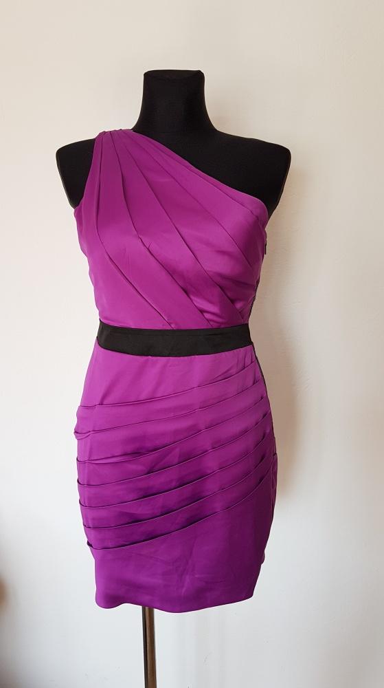 Suknie i sukienki SUKIENKA LIPSY LONDON JEDNO RAMIĘ FIOLETOWA ZAMEK 34