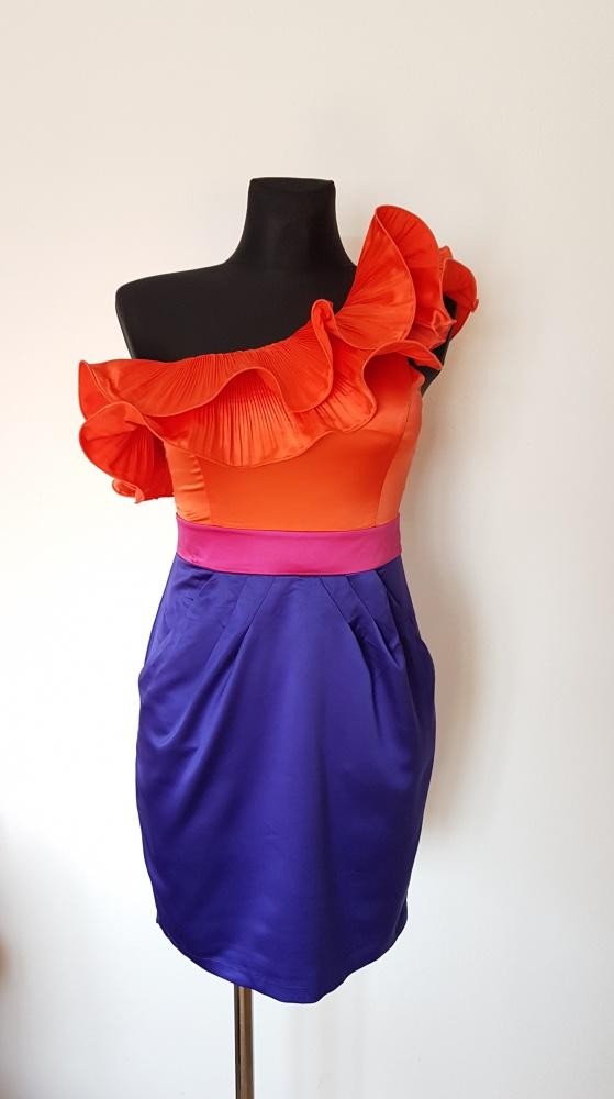 Suknie i sukienki SUKIENKA LIPSY LONDON JEDNO RAMIĘ KOLOROWA