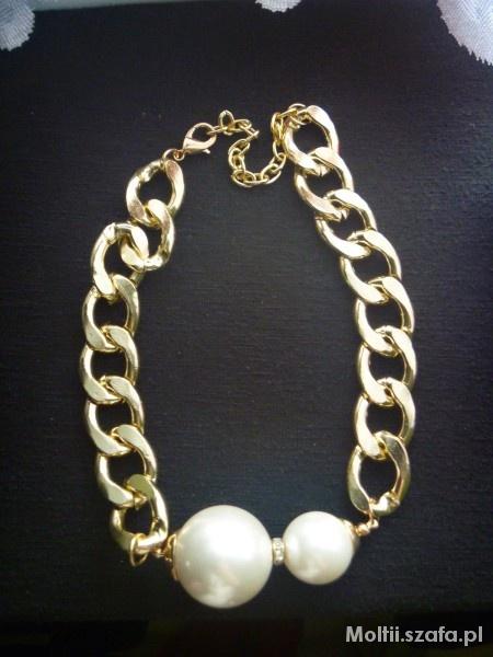 Naszyjniki Złoty naszyjnik z perłami
