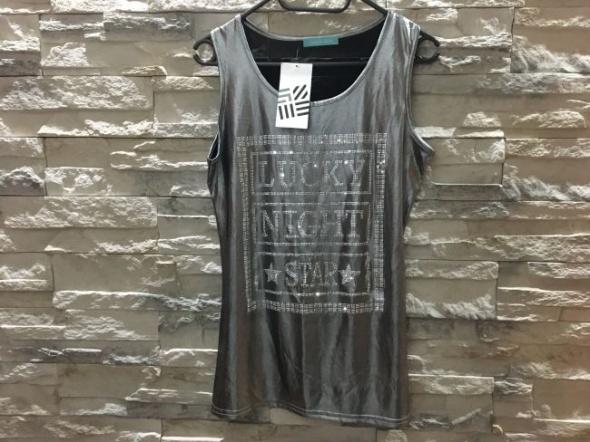 Nowa srebrna błyszcząca bluzka koszulka bokserka