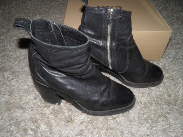 Skórzane buty Mango botki 39 skóra