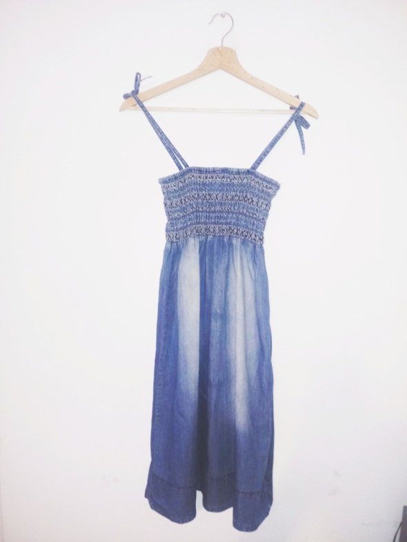Suknie i sukienki Sukienka jeansowa na gumie dżinsowa mini cieniowana hippie boho
