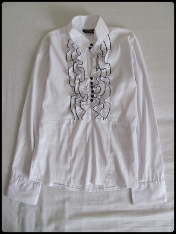 Koszule Biała elegancka koszula z żabotem KULA rozmiar 38 M