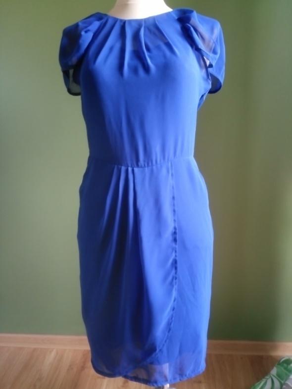 Szyfonowa sukienka błękit królewski 38