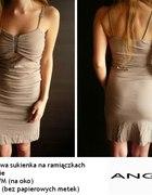 Jasnobrązowa sukienka Angie jak nowa s 36 M 38...