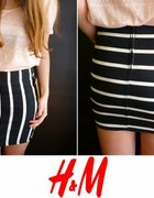 Czarna spódniczka jeansowa h&M xs 34 w białe paski...