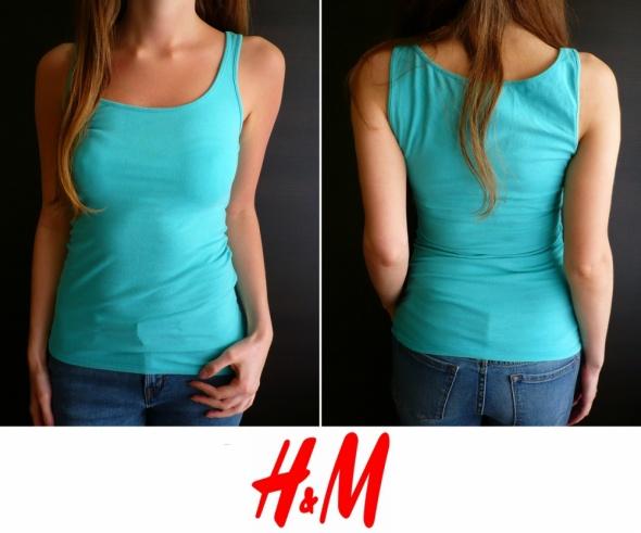 top koszulka bluzka H&m xs 34 bokserka niebieska...
