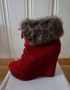 Czerwone koturny botki sznurowane wedges 36...