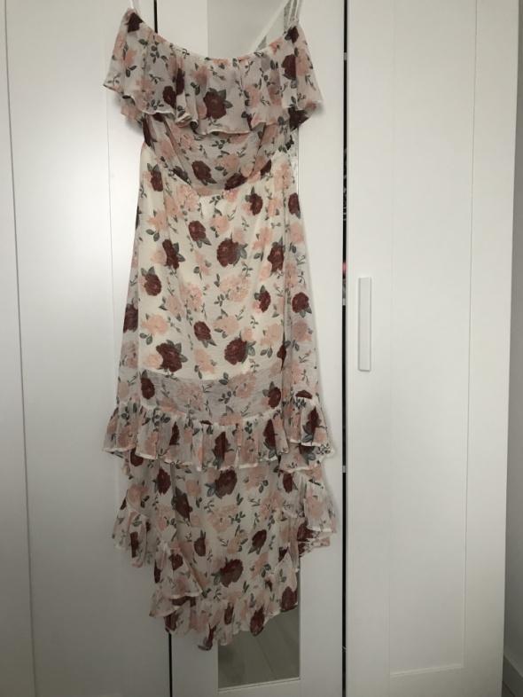 Zwiewna sukienka 42 XL 40 L jak uniwersalna dłuższy tył H&M letnia