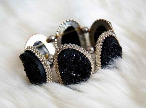 Bransoletka New Look Złota czarna Druzy Unikat Jedyna