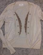 Beżowy sweterek ze skórzaną koronką rozm S M cena z wysyłką