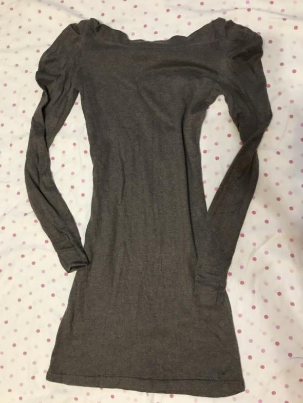 sukienka ciepła sweterkowa szaro brązowa XS 34 Warehouse