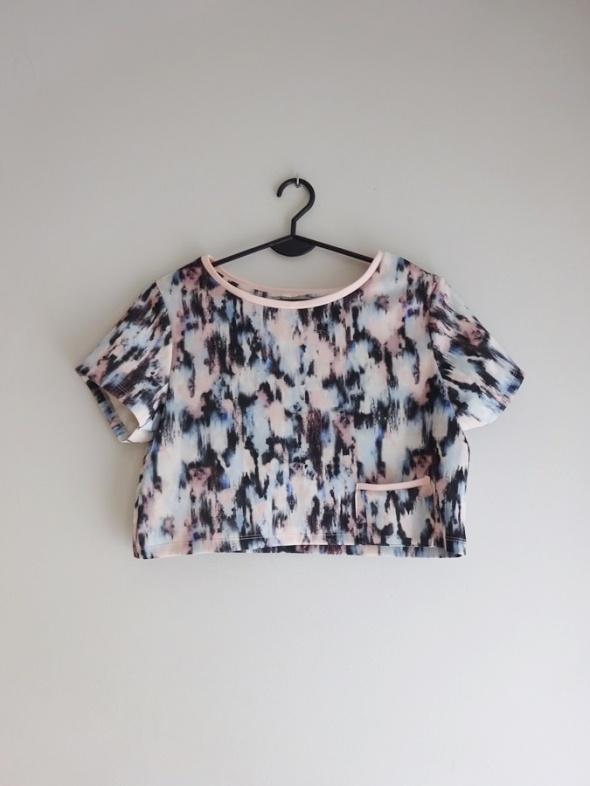 Bershka krótki kolorowy top bluzka z kieszonką 34 XS