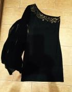 Piękna mała czarna New Look szyfonowy rękaw 38