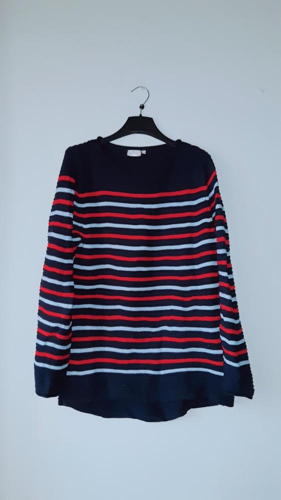 Idealny granatowy sweter w paski