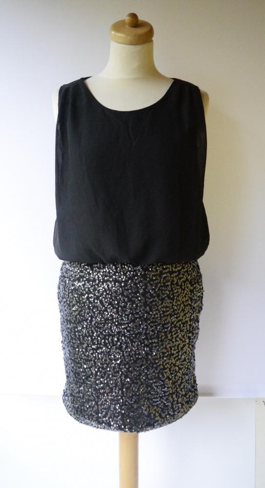 Sukienka Vero Moda Czarna M 38 Cekiny Elegancka Cekinki...